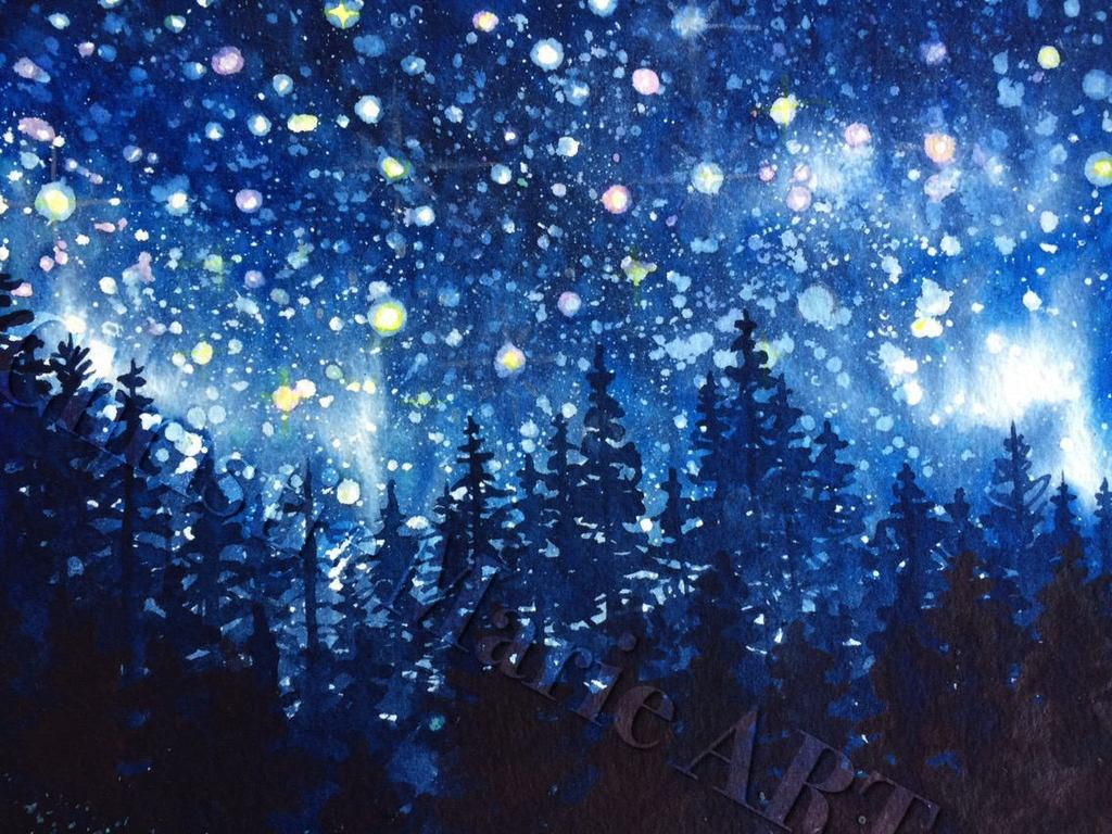 1024x768 Alpine Forest Night Sky Stars Fine Art Watercolor Giclee Print