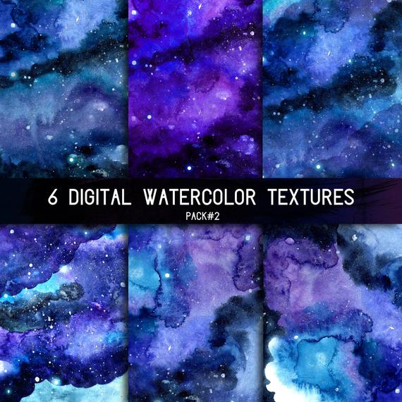 570x570 Space Watercolor Background Digital Night Sky Texture With Etsy