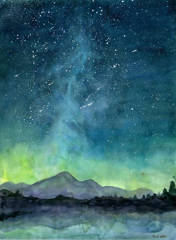 570x779 Starry Sky Print, Watercolor Painting Print, Starry Night Painting