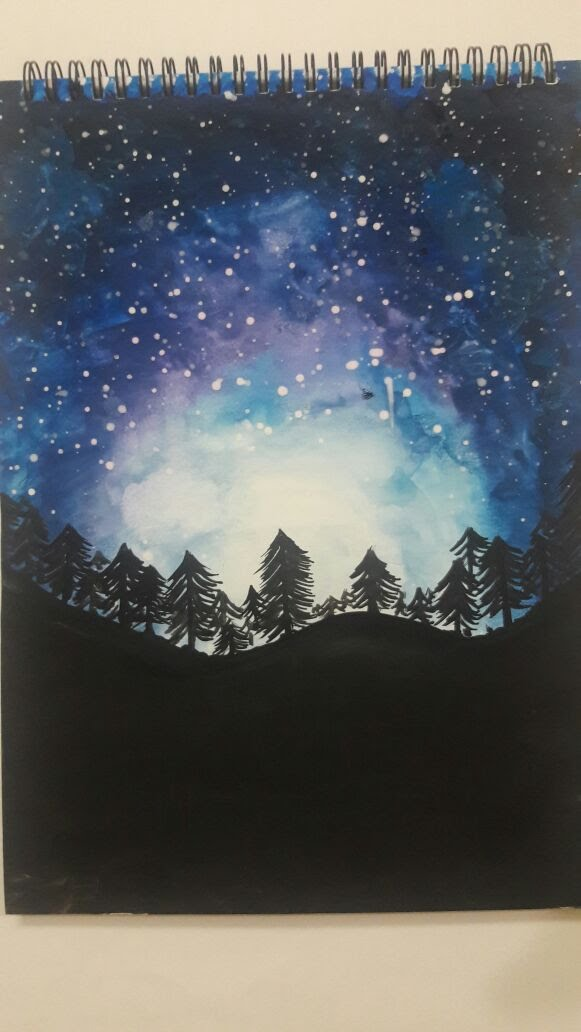 581x1032 Watercolor Night Sky Painting