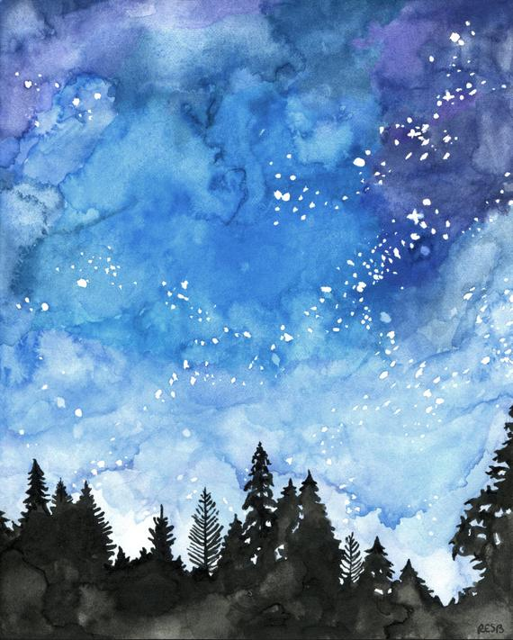 570x711 Watercolor Painting Galaxy Painting Night Sky Galaxy Print Etsy