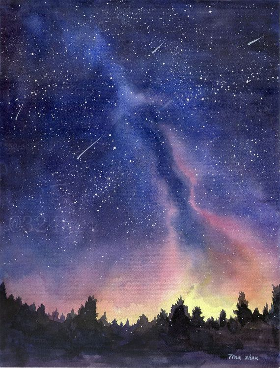 570x748 Watercolor Painting Print, Starry Sky Print, Starry Night Painting