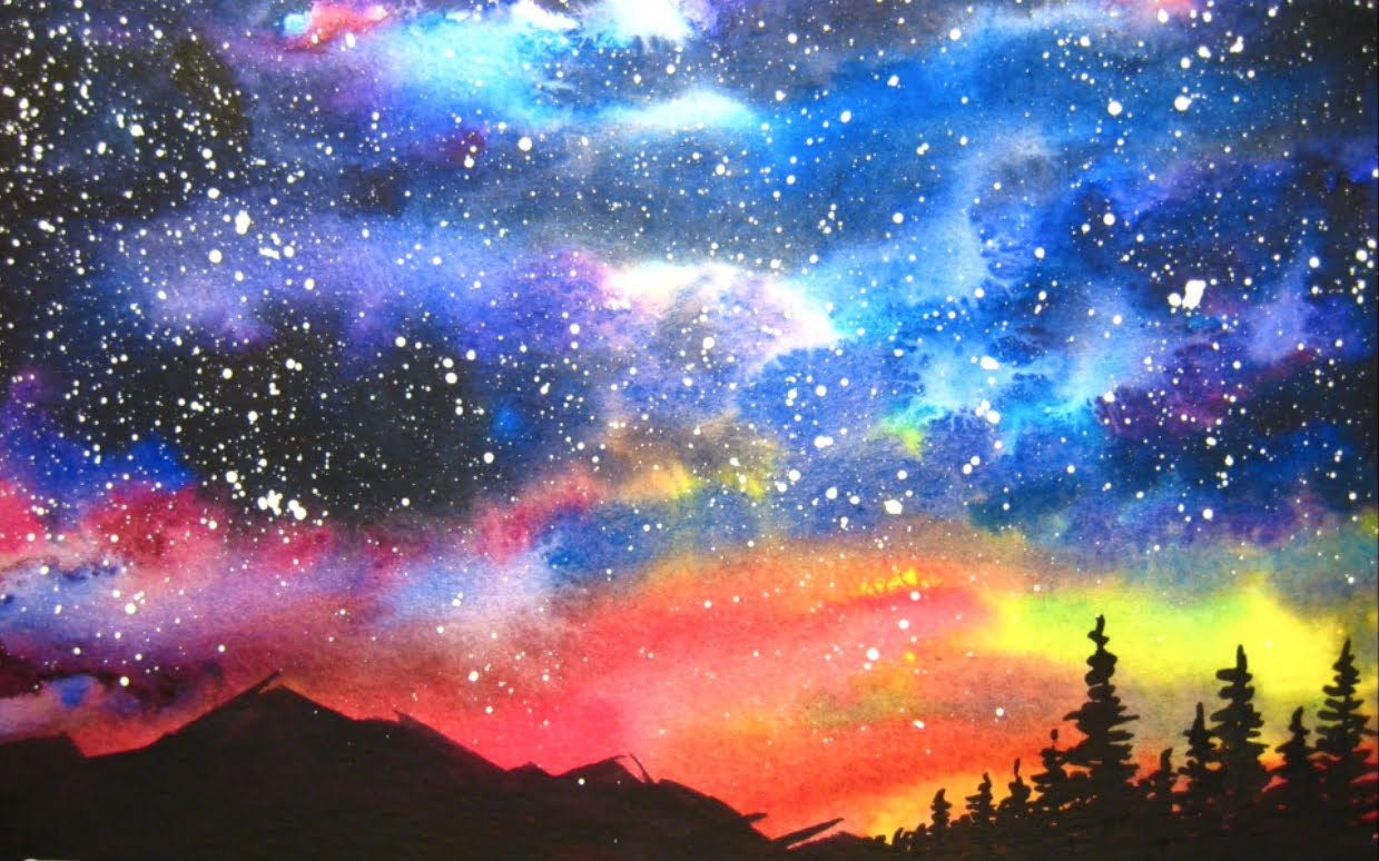 1239x774 Watercolor Starry Night Sky Speed Painting