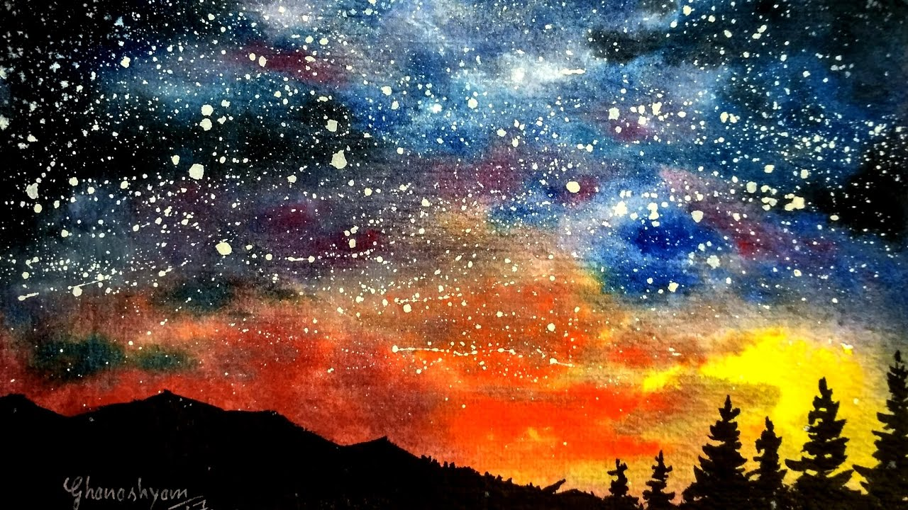 1280x720 Watercolor Starry Night Sky Speed Painting Paint With David