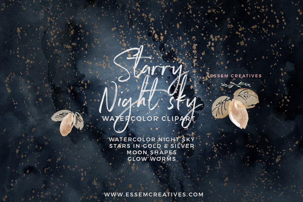 1000x667 Celestial Starry Night Sky Watercolor Clipart
