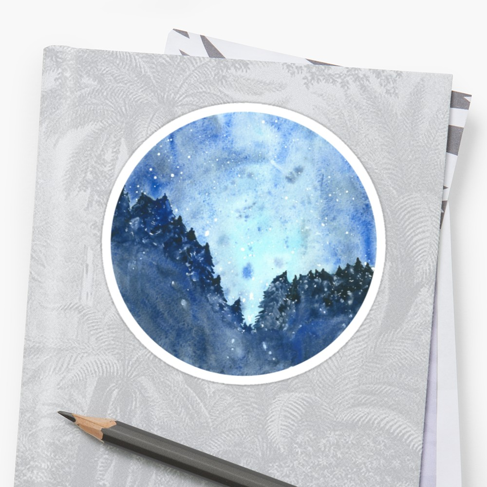 1000x1000 Celestial Watercolor Night Sky Stickers By Kroksg Redbubble