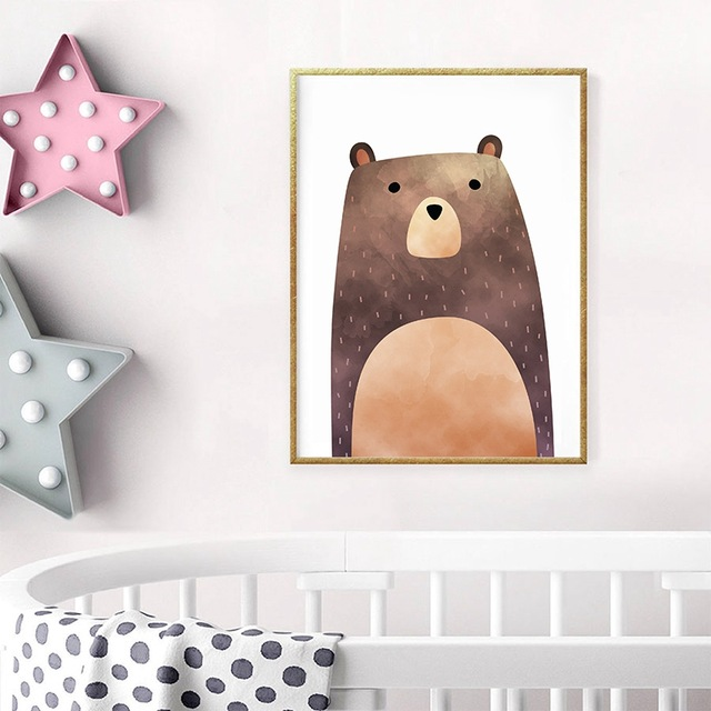 640x640 Nursery Animal Bear Canvas Print Wall Art Poster , Watercolor