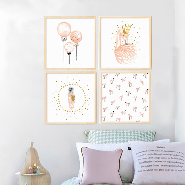 640x640 Pink Flamingo Girls Canvas Painting Watercolor Nordic Poster Print