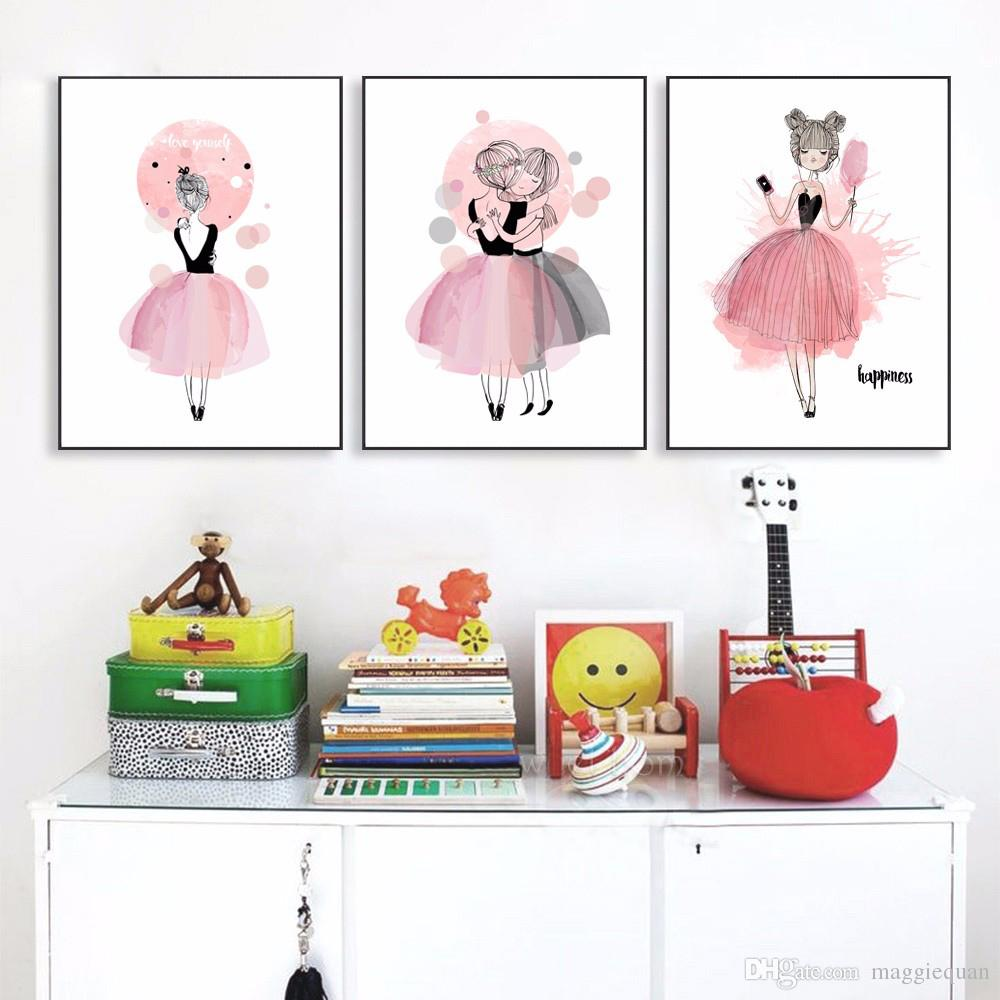 1000x1000 2018 Watercolor Girls Canvas Art Prints Nursery Poster Wall