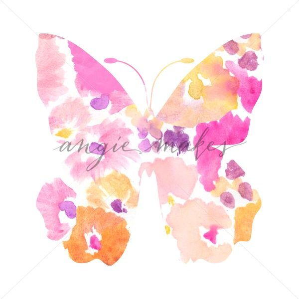 600x600 Adorable, Abstract Watercolor Butterfly Nursery Art Print