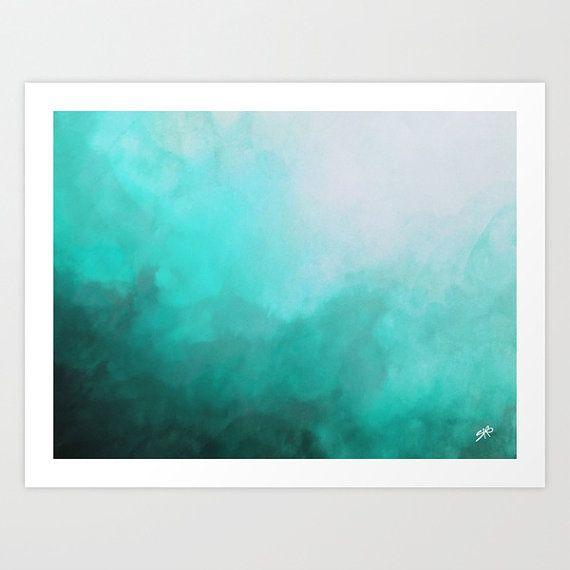 570x570 Watercolor Print, Abstract Art, Teal Abstract Watercolor, Abstract