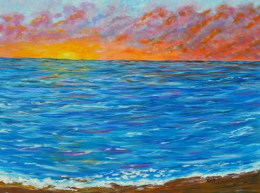 375x278 Ocean Sunset, Seascape Painting, Flaming Sunset Painting By