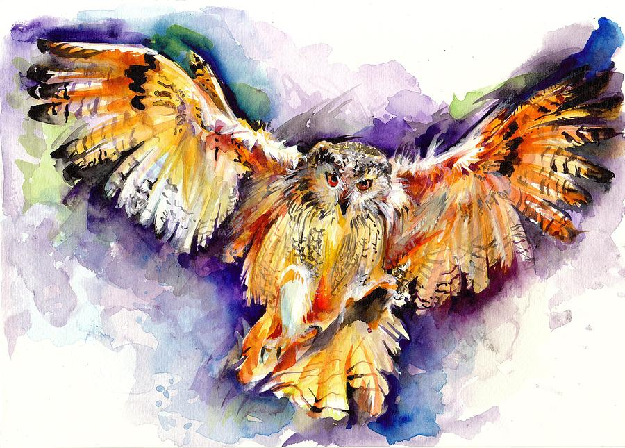 900x645 Night Owl Watercolor, Hunting Owl, Flying Brown Owl Painting By