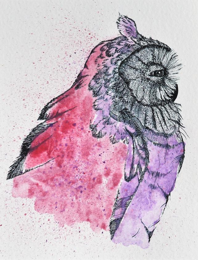 642x842 Owl Original Watercolor Owl Original Wildlife Original Owl Etsy