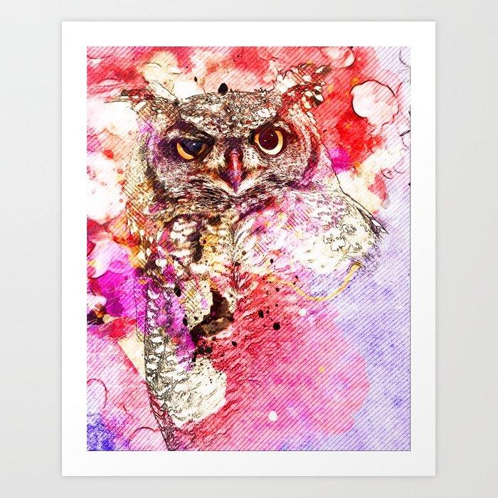 700x700 Watercolor Owl, Vintage Owl, Mixed Media Owl, Animal Owl, Bird Owl