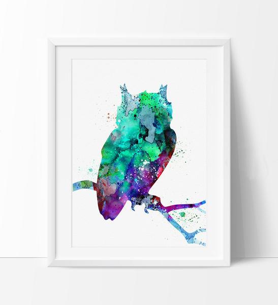 547x600 Watercolor Owl Painting, Owl Art Print, Watercolor Art, Watercolor
