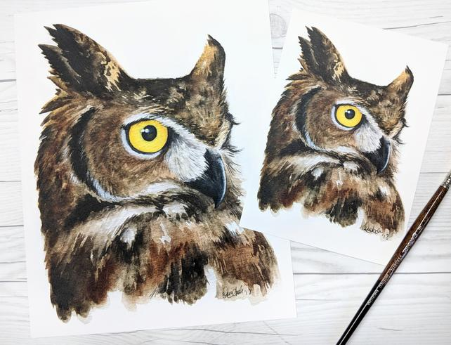 642x491 Great Horned Owl Owl Owl Watercolor Owl Painting Great Etsy
