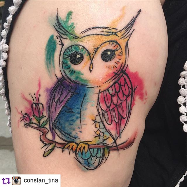 640x640 Owl Watercolour Tattoo Tattoos And Piercings Owl