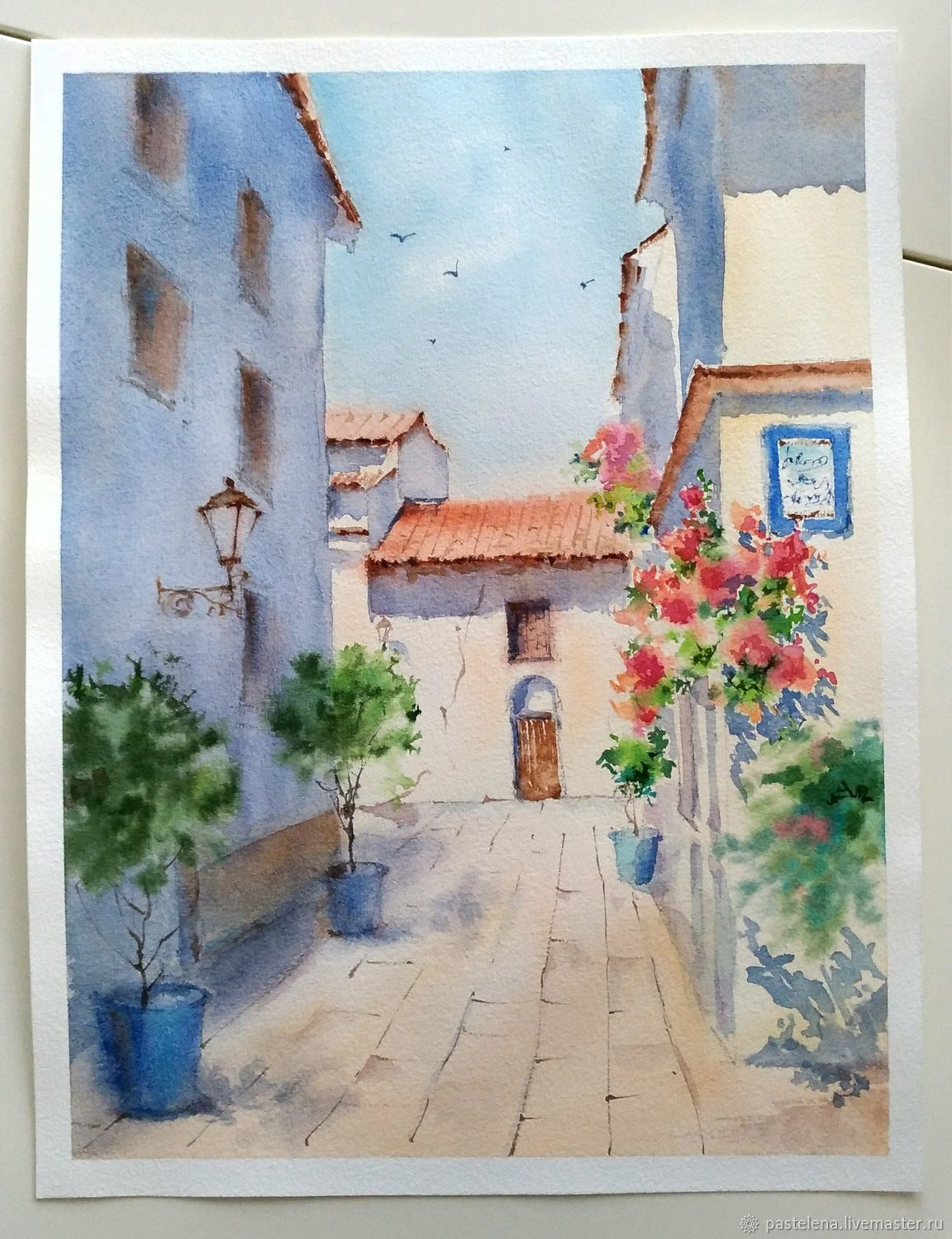 1152x1500 Painting Watercolor Blooming Andalusia (Beige, Brick, Blue) Shop