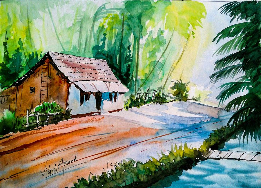 900x648 Home Sweet Home Abstract Landscape Watercolor Painting By Artist