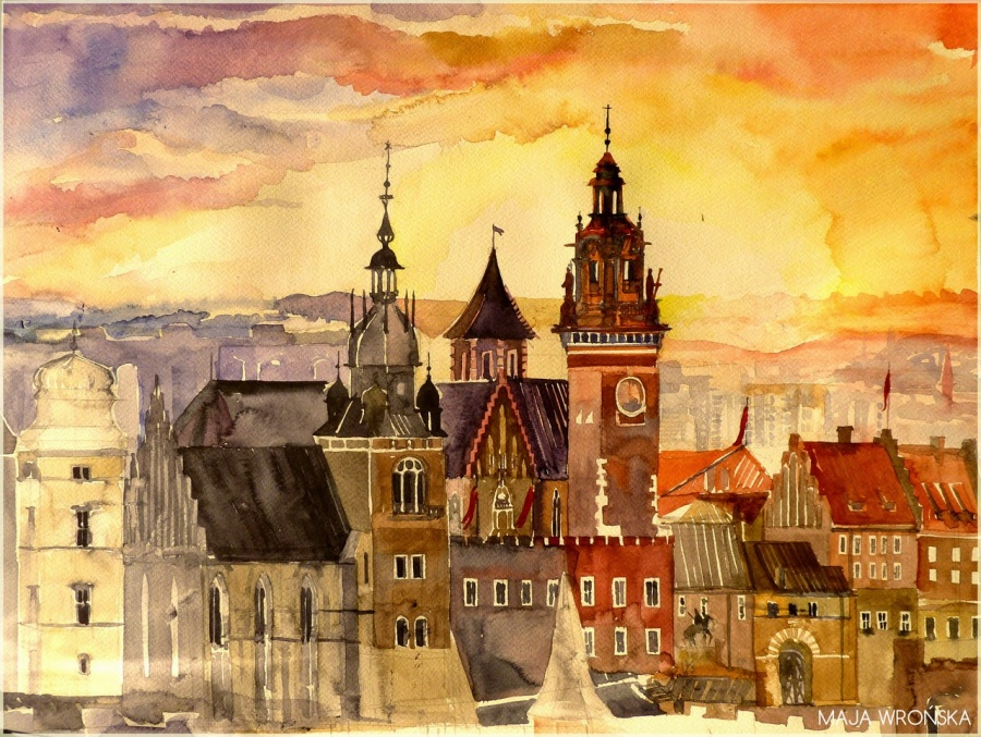 Watercolor Painting Of City