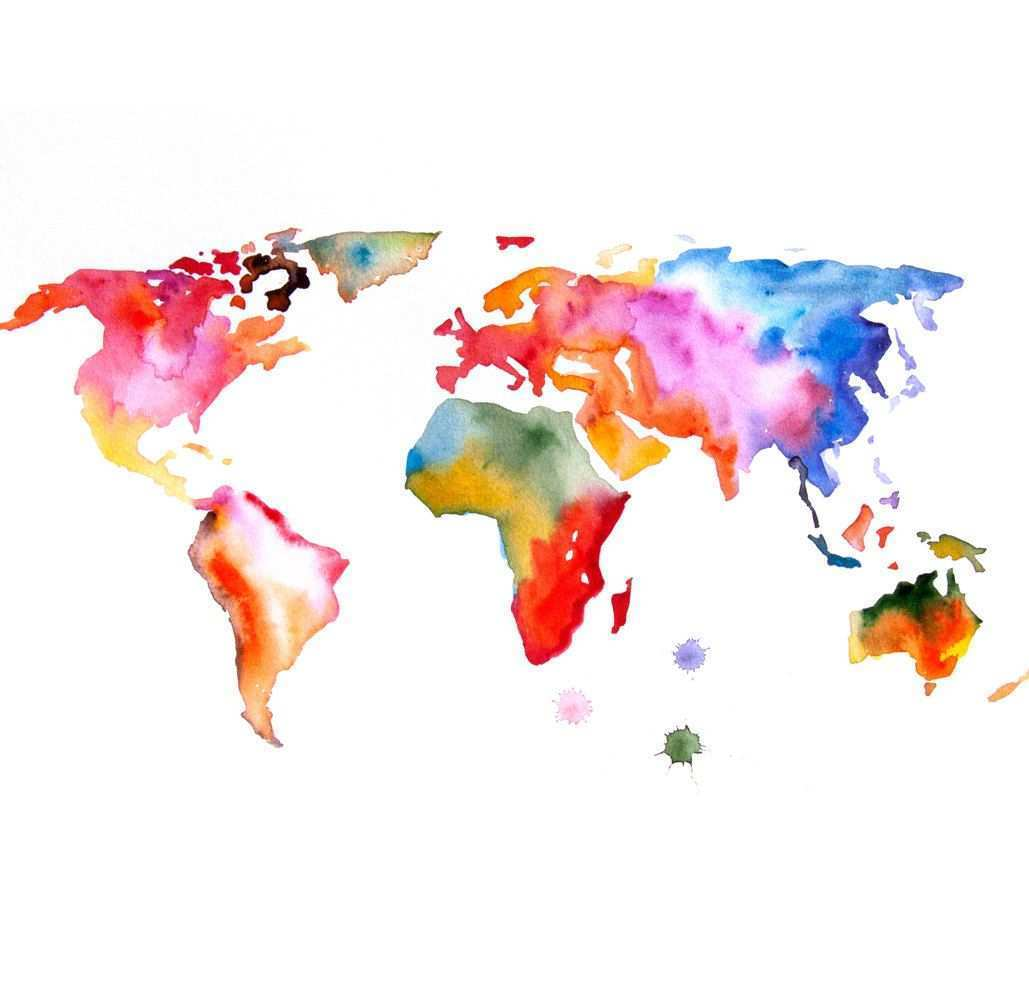 Watercolor Painting Of The World