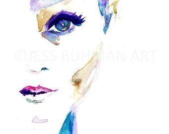 340x270 Portrait Of Woman Watercolor Print Watercolor Portrait