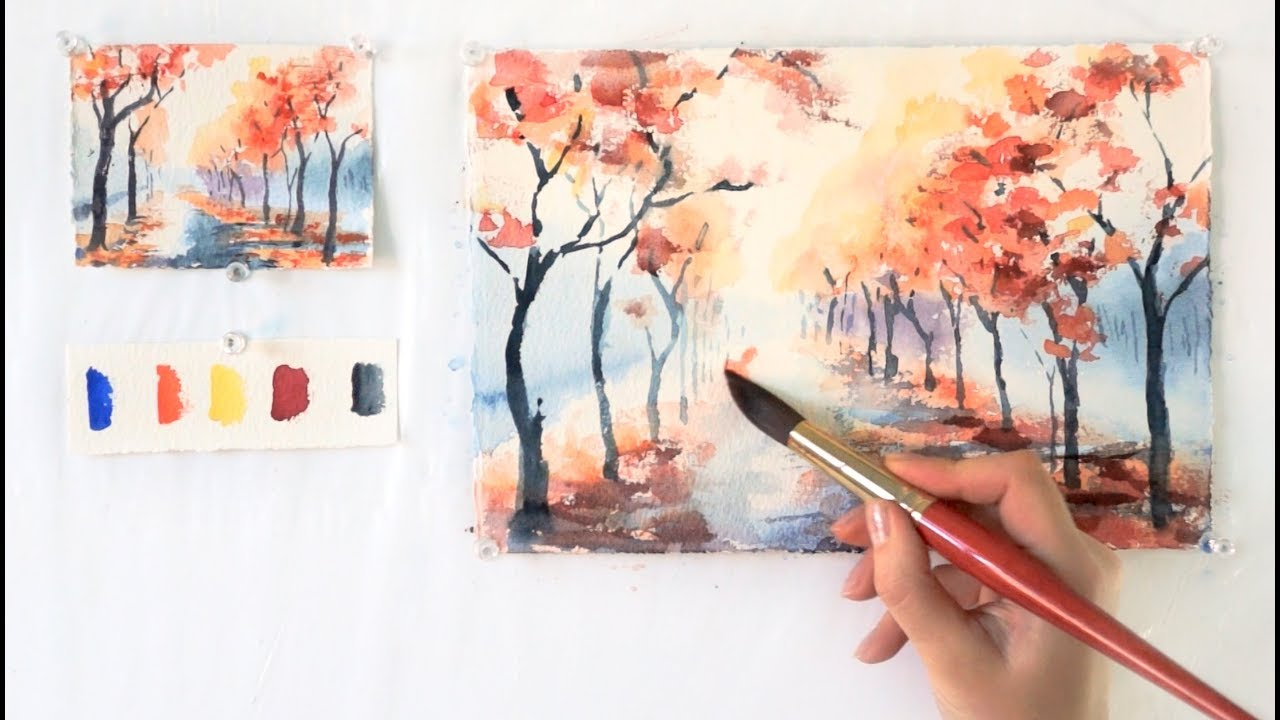 1280x720 Autumn Alley. Step By Step Watercolor Tutorial. Part 1