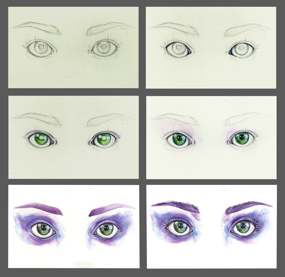 906x881 Watercolor Eyes Step By Step By Euminee