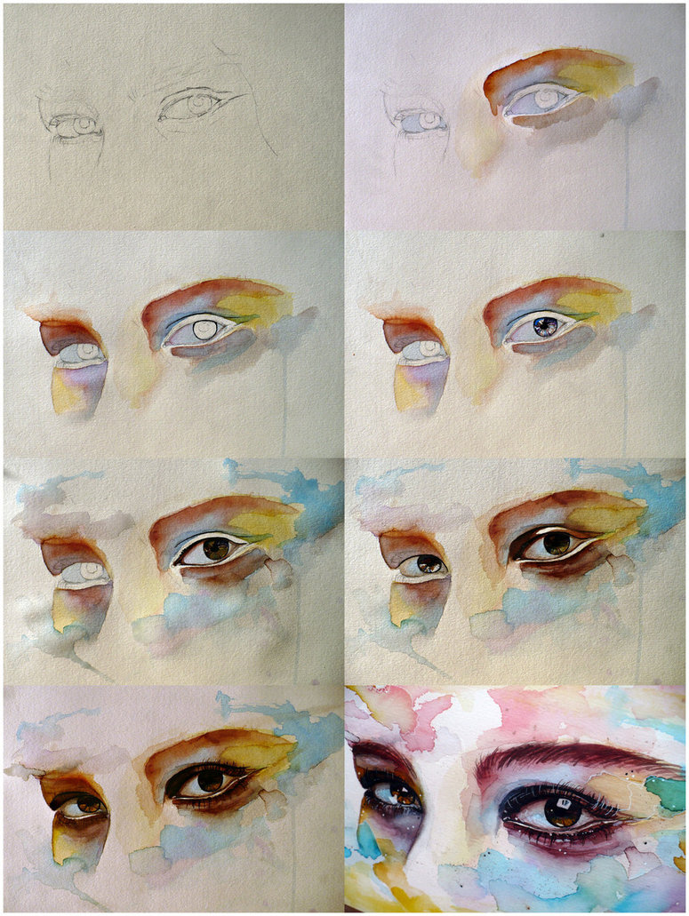 775x1031 Watercolor Eye Study, Step By Step By Jane Beata