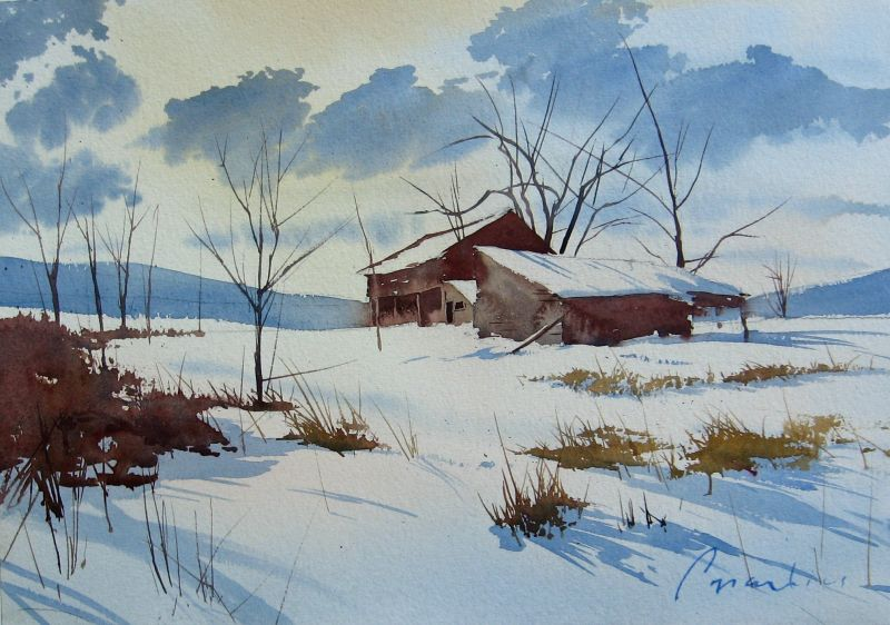 Watercolor Painting Winter Scenes
