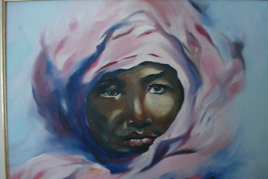 900x600 Black Woman In Pink Veil Painting By Marrie Pierrette Cloutier