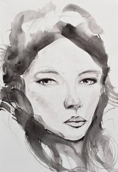 375x549 Original Realism Women Watercolor Paintings On Cardboard For Sale