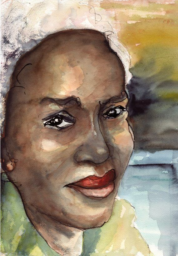 570x820 Paintings Of Black Women Art Original Watercolor Painting Black