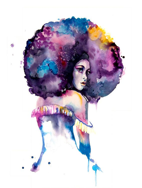 570x755 Watercolor Painting Print Afro Woman Art Home By Watercolormary