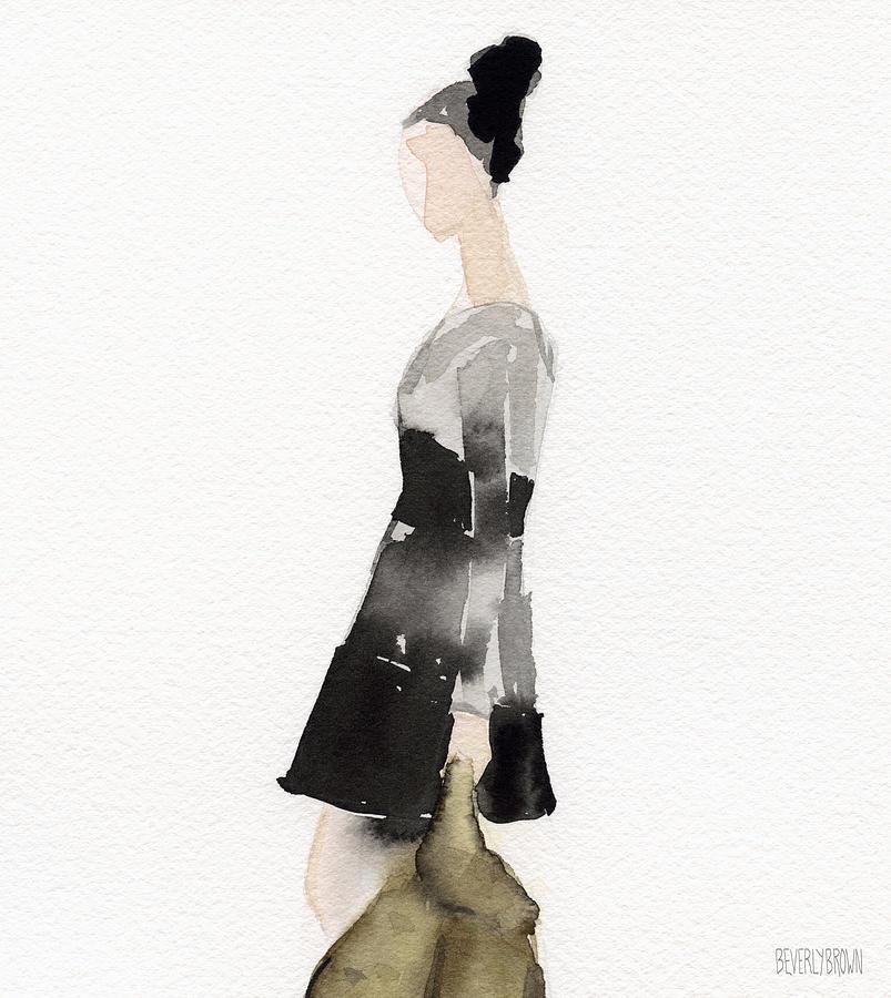 803x900 Woman In A Black And Gray Dress Fashion Illustration Art Print