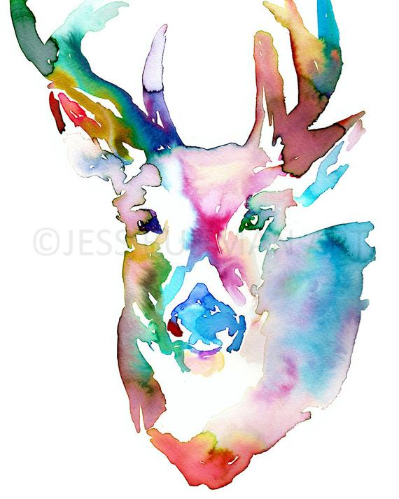 570x713 Deer Watercolor Painting Print Deer Painting Print Of Deer Etsy