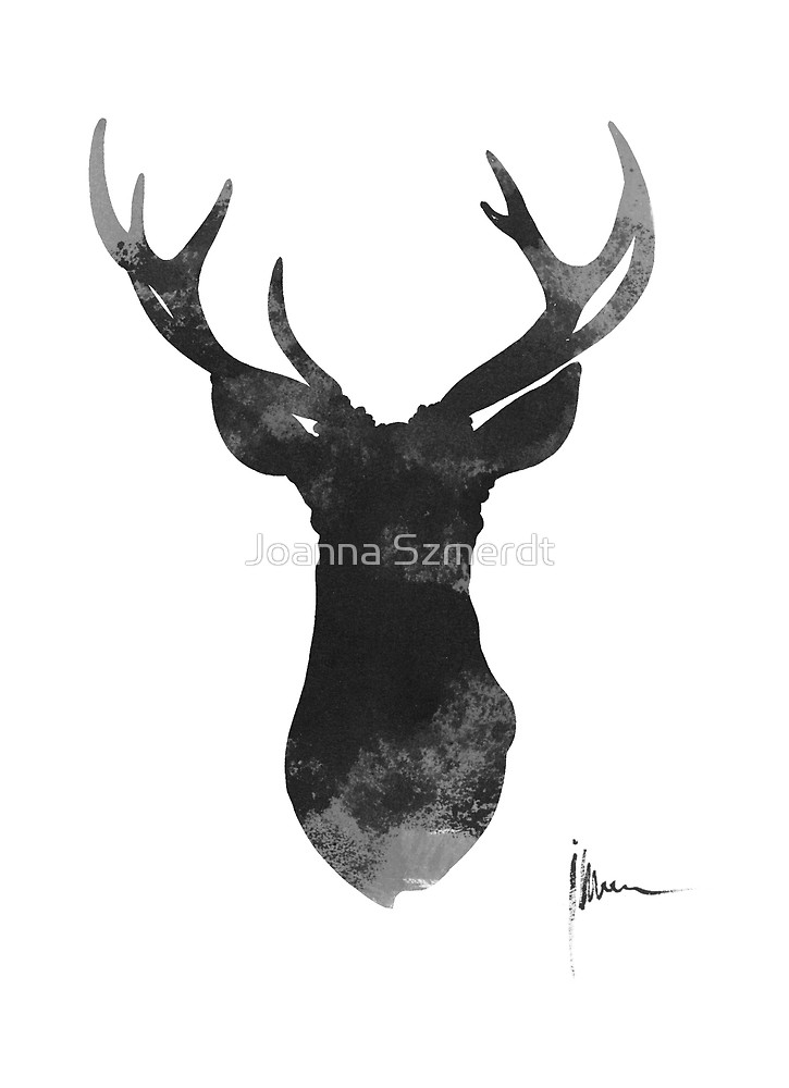 725x1000 Deer Antlers Watercolor Painting, Deer Abstract Home Decor By