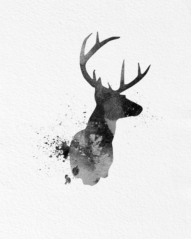 1200x1500 Watercolor Art Buck Deer Gift Modern 8x10 Wall Art Decor Buck Deer