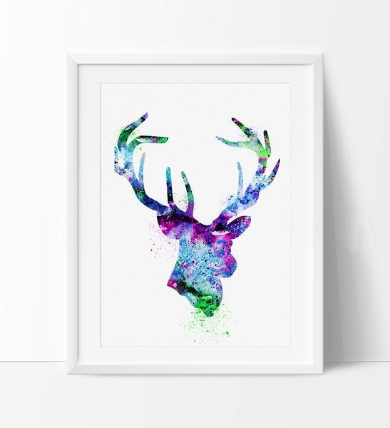 547x600 Deer Print, Deer Watercolor Art, Deer Painting Poster, Wall Art