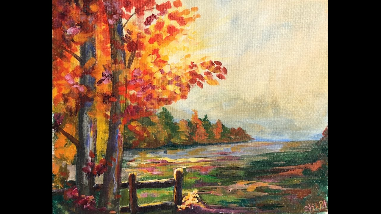 1280x720 Beginner Learn To Paint A Landscape Full Acrylic For Fall Autumn