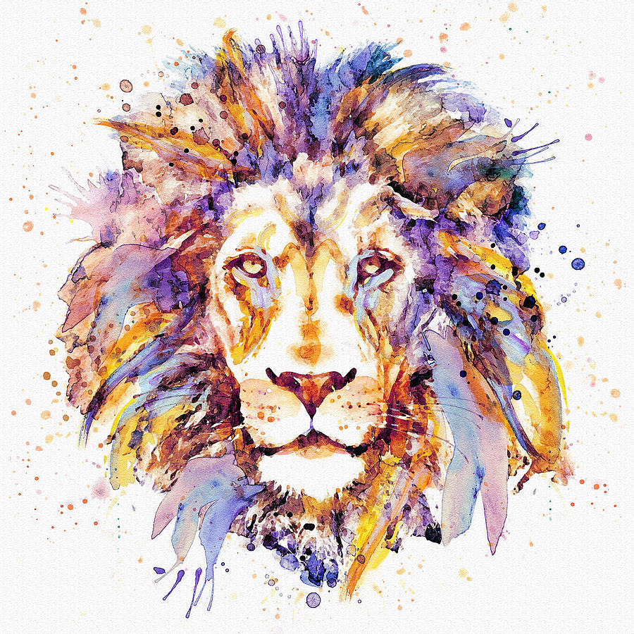 900x900 Lion Head Painting By Marian Voicu