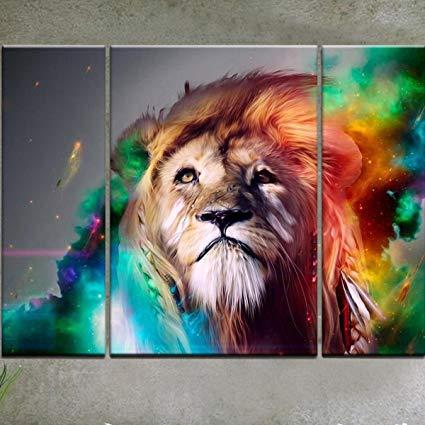 425x425 Rain Queen Modern Abstract Art Colorful Lion Oil