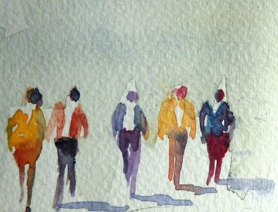 570x436 Watercolor Painting Aceo Original Walking Figures People