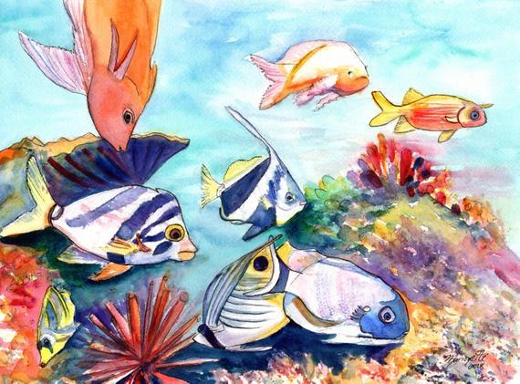 570x421 Hawaiian Tropical Fish Watercolor Painting Hawaii Fish Art Etsy