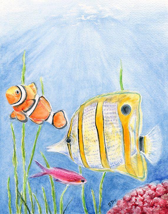 570x725 Fish Art Fish Painting Fish Art Print. Fish Watercolor Painting