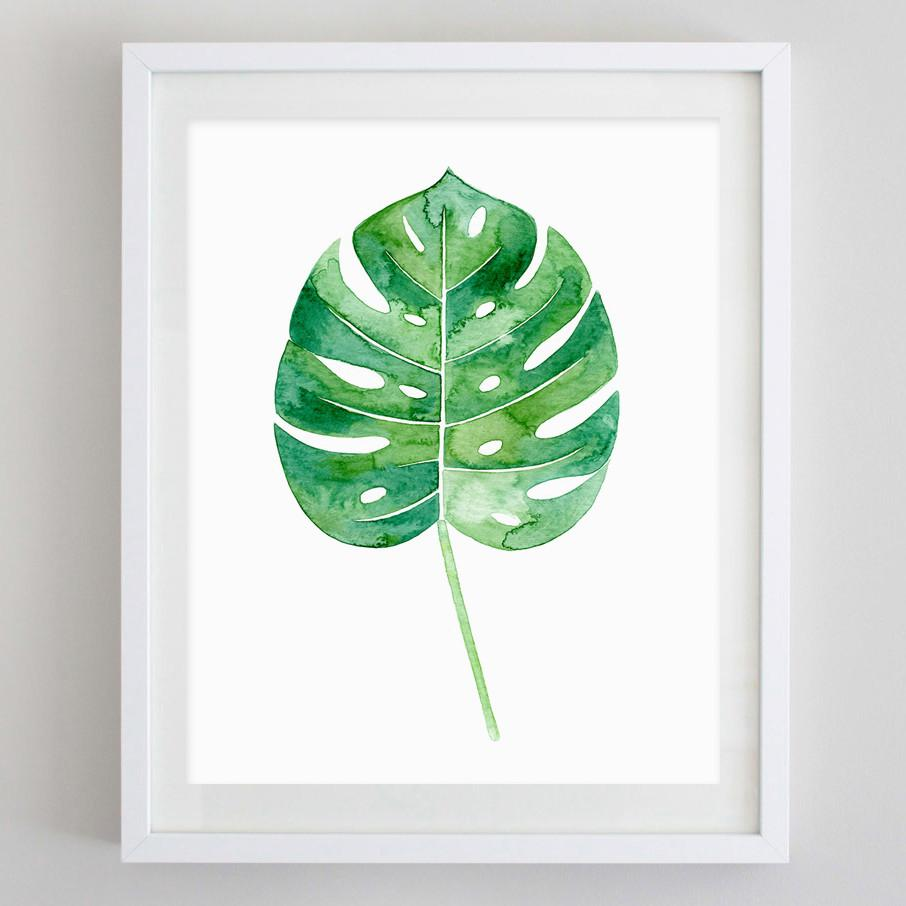 906x906 Palm Leaf Tropical Botanical Watercolor Print Carly Rae Studio