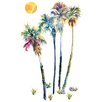 425x425 Roommates Rmk2782gm Watercolor Palm Trees Peel Amp Stick Giant Wall