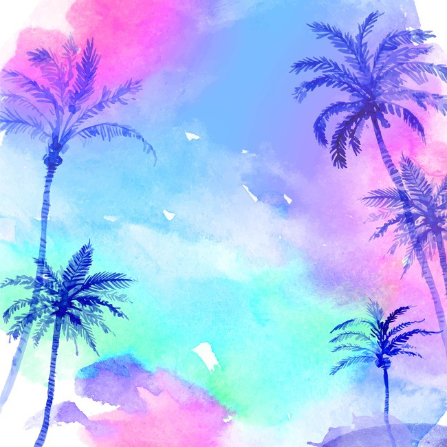 650x650 Sky Watercolor Palm Trees Background Vector Material, Vector, Sky