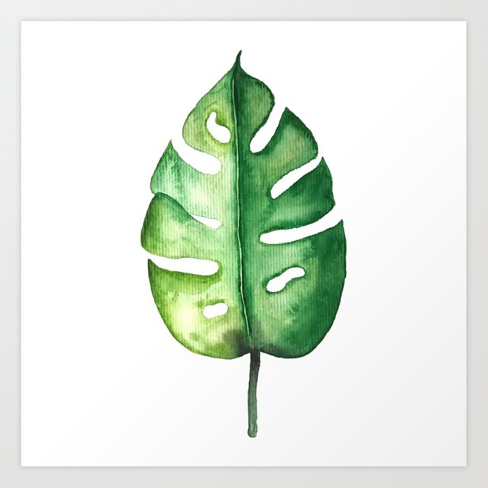 700x700 Watercolor Palm Leaf Art Print By Awamarc Society6
